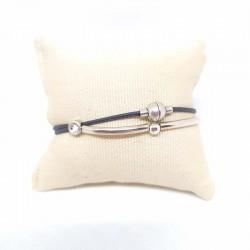 Bracelet fin argent et cuir