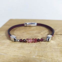 Bracelet cuir et pierres roses